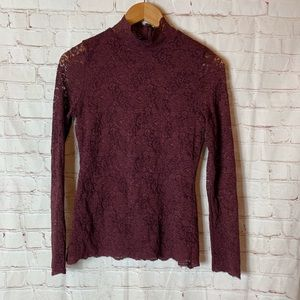 Vince Camuto Purple Lace Long Sleeve Top XS